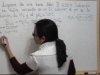 Ejercicio Ácido Base 9: Cálculo de Kb de una base débil a partir de su grado de disociación