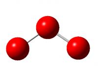 Molécula de ozono de geometría angular