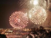Una imagen de los fuegos artificiales sobre la Bahía de Palma, el 20 de enero en las fiestas de San Sebastián, festival Aiquafoc de 2001 (dbalears.cat)