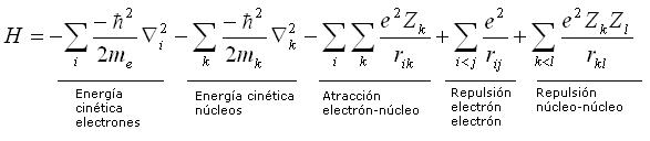 Términos atractivos y repulsivos del operadora Hammiltoniano de la ecuación de Schrödinger. Si incluye la energía cinética de los electrones y de los núcleos, y también las atracciones y repulsiones electrostáticas (energía potencial eléctrica).