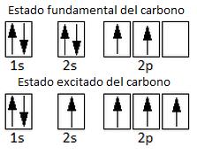 Configuración electrónica del estado fundamental y del estado excitado del átomo de carbono