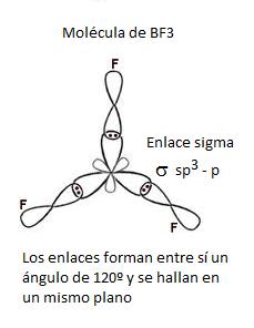 Geometría de la molécula de BF3 con hibridación sp2