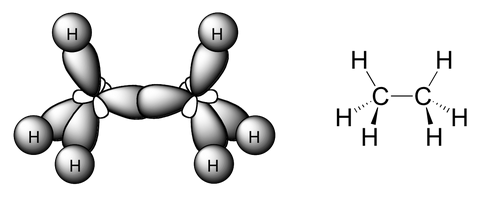 Geometría molecular del metano donde se observa la hibridación sp3