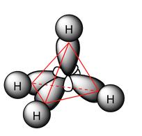 Geometría de la molécula de metano donde podemos ver la hibridación sp3