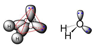 Molécula de agua con hibridacion sp3