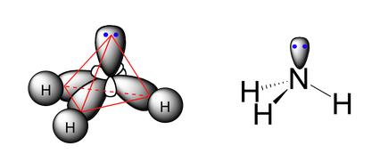 Molécula de amoníaco con hibridación sp3