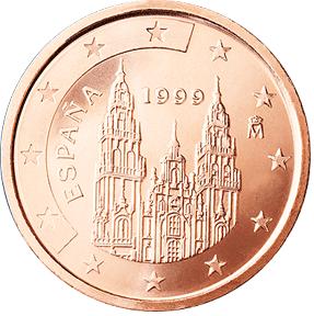 Moneda de dos céntimos de euro de acero y cobre