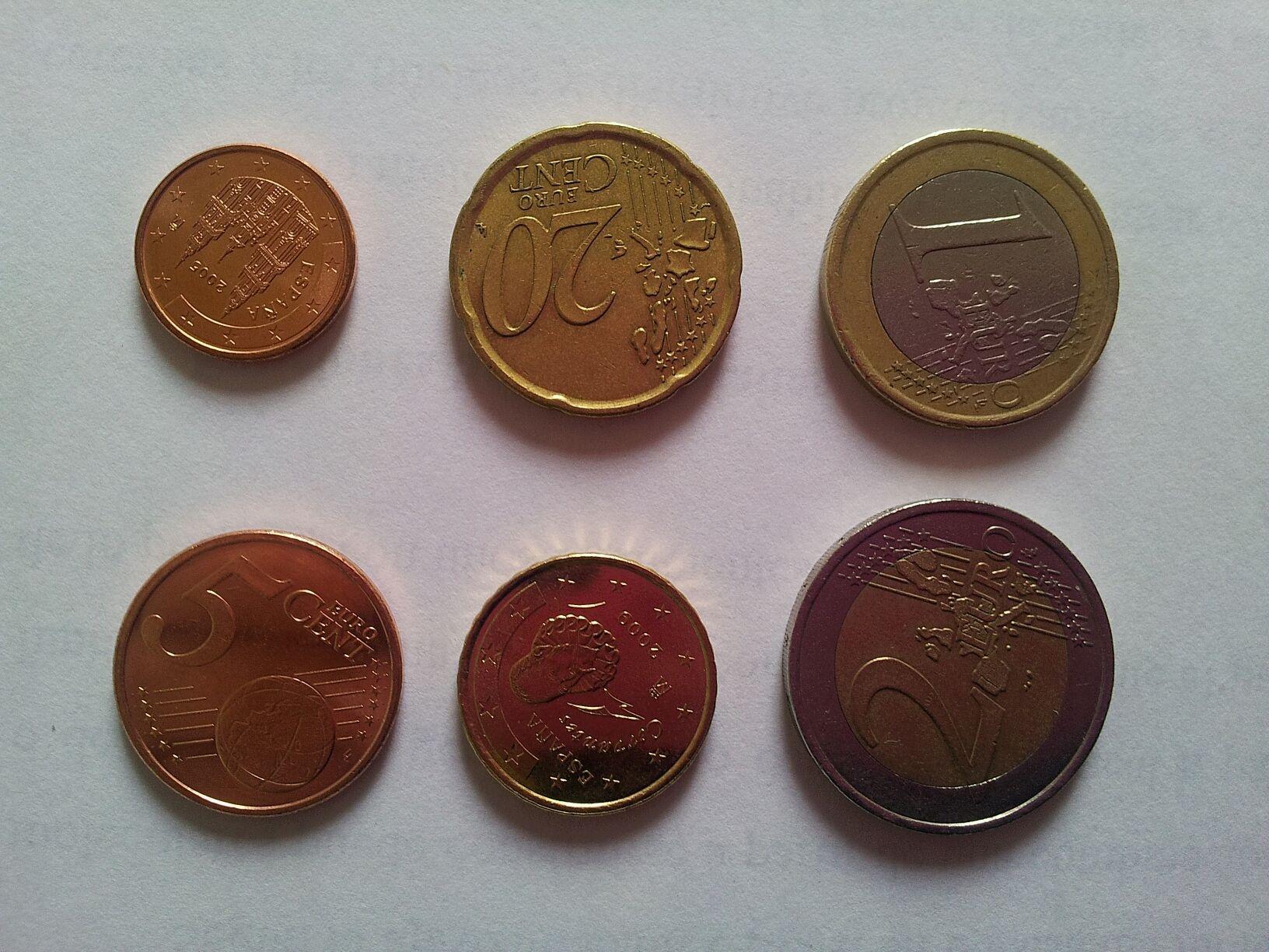 Composición de las monedas de euro