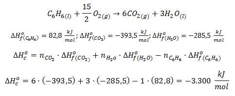 Cálculo de la entalpía de combustión del benceno a partir de las entalpías de formación