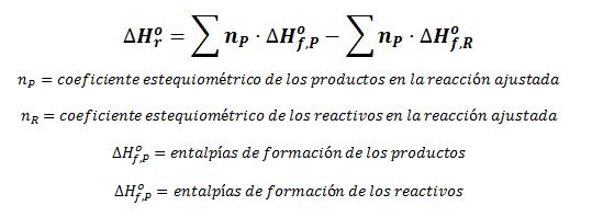Fórmula general para el cálculo de la entalpía de reacción con las entalpías de formación