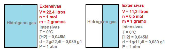 Recipiente con hidrógeno: variables intensivas y extensivas