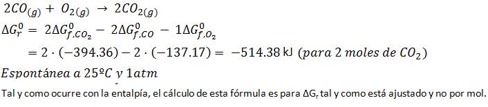 Ejemplo de calculo de la variacion de energia libre para la formacion de co2