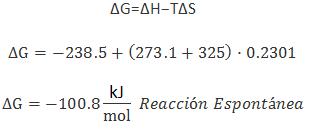 Ejemplo calculo de la variacion de energia libre