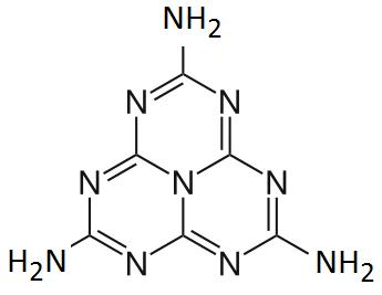 Estructura de la heptazina melem: monómero del polímero melón