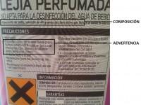 Etiqueta con advertencias de una botella de lejía: hipoclorito sódico