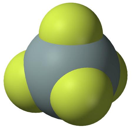 Modelo molecular del tetrafluoruro de silicio