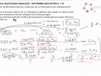Ejercicio 5 química selectividad Andalucía septiembre 2013, fórmula empírica y molecular