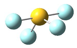 Molécula de tetrafluoruro de azufre, SF4: perspectiva 1
