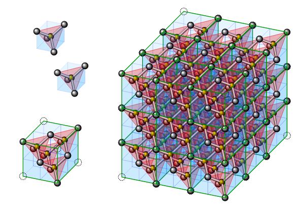 Celda cúbica en la estructura del diamante
