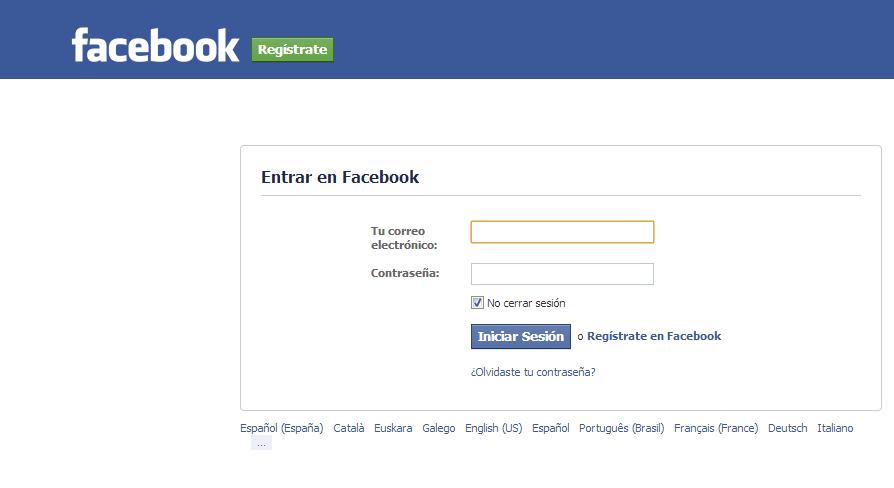 Inicio de sesión en Facebook para bitácoras 2013