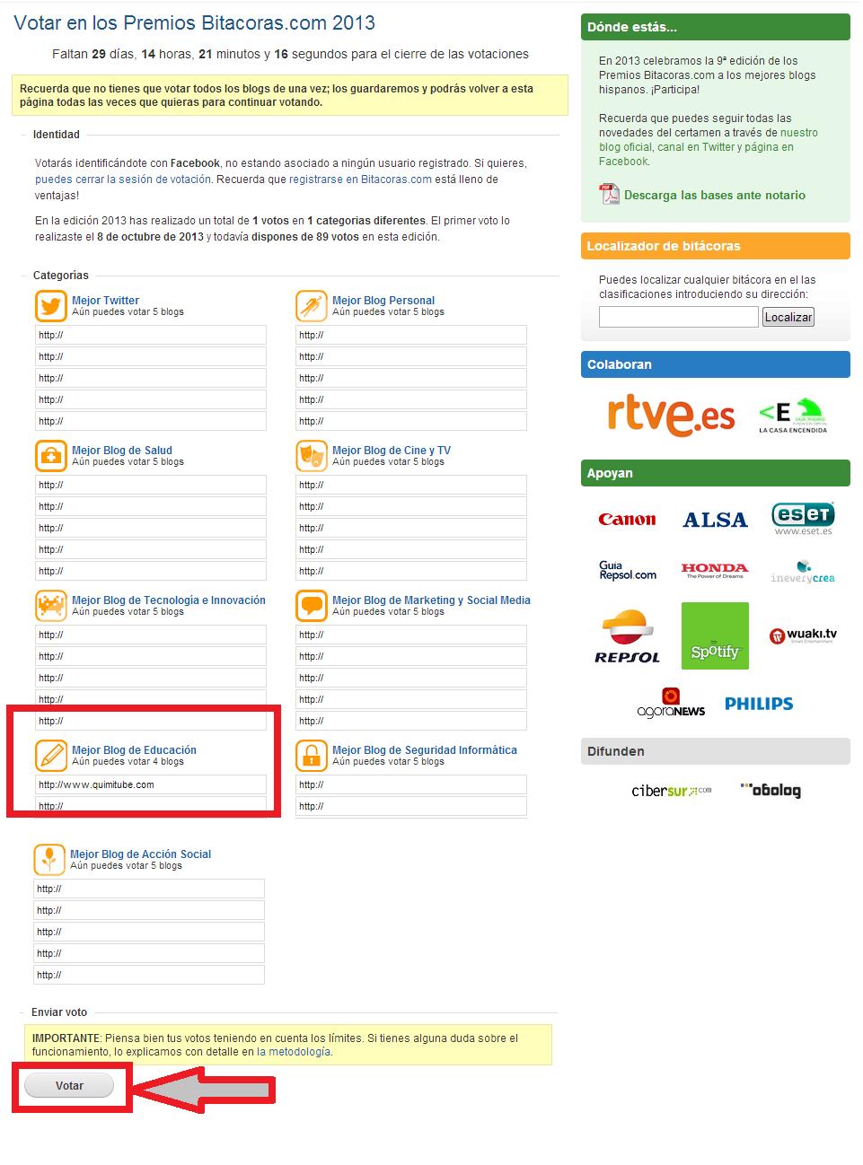 Votaciones de usuario en los Bitácoras 2013