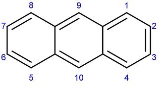 Numeración del antraceno: hidrocarburo aromático