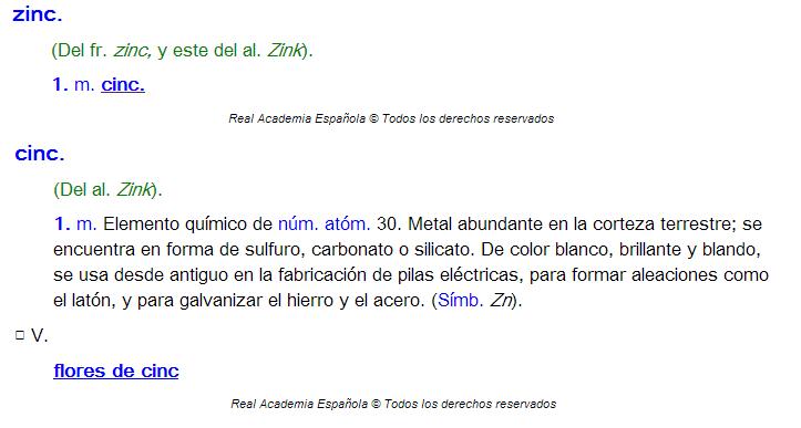 Entradas para las palabras zinc y cinc en el diccionario de la Real Academia