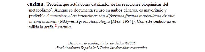 Enzima: entrada en el diccionario panhispánico de dudas de la RAE