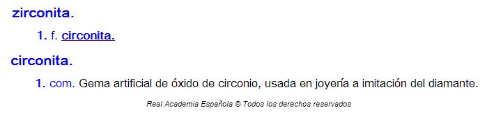 Zirconita o circonita: entrada del diccionario de la Real Academia