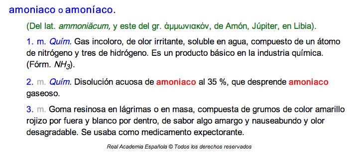 La palabra amoniaco se puede usar como llana o como esdrújula.