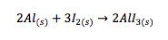 Formación de un monómero en la reacción entre el yodo y el aluminio