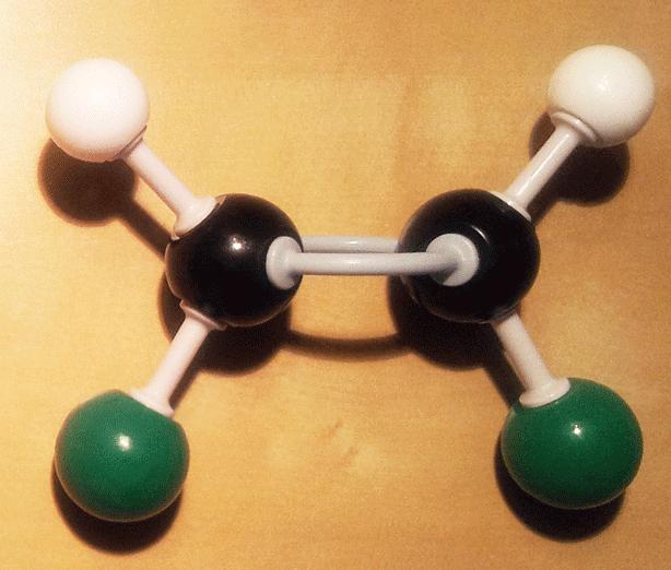Cis 1,2-dicloroeteno modelo molecular bolas