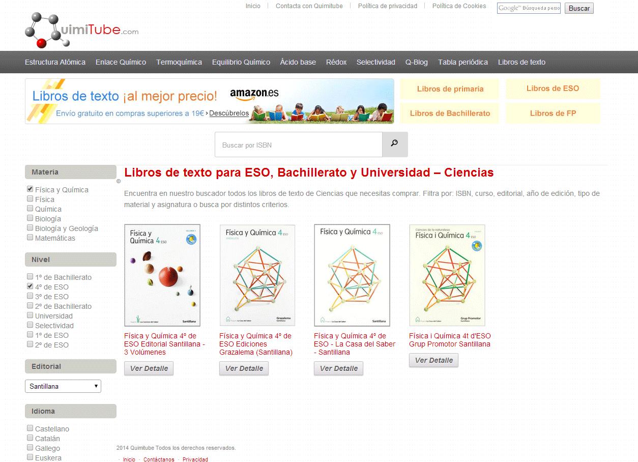 Libros de texto: búsqueda por filtrado en el buscador
