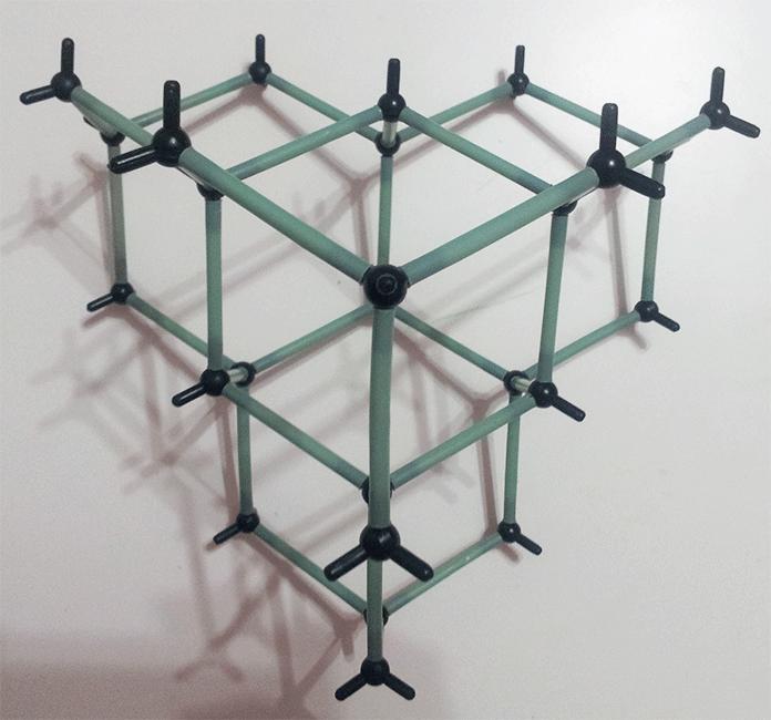 Modelo molecular del diamante visto desde arriba