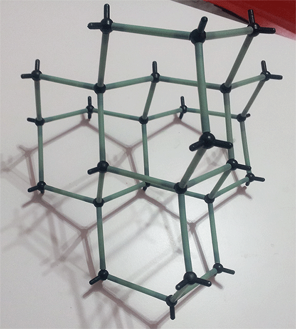 Modelo molecular diamante vista lateral