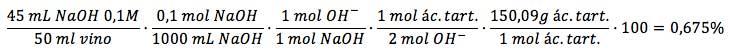 Cálculos estequiométricos neutralización ácido tartárico