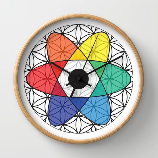Reloj átomo abstracto de colores