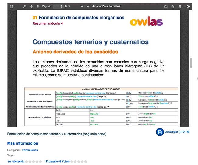 Ejemplo apuntes PDF formulación Owlas