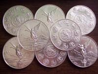 Monedas de plata brillante