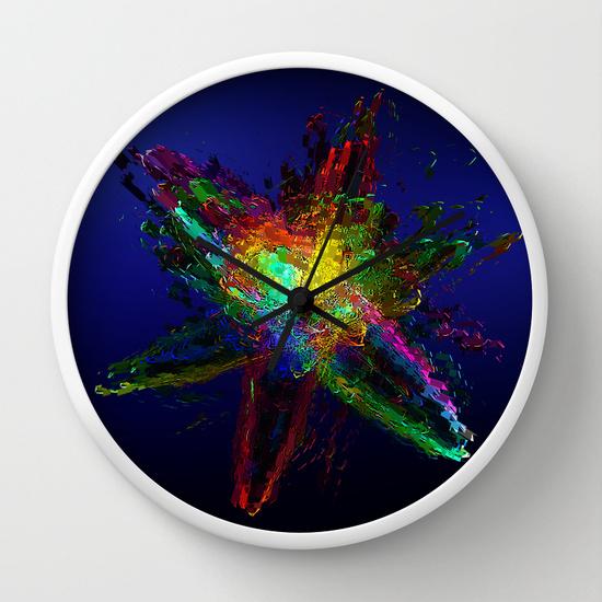Reloj de pared con átomo al óleo
