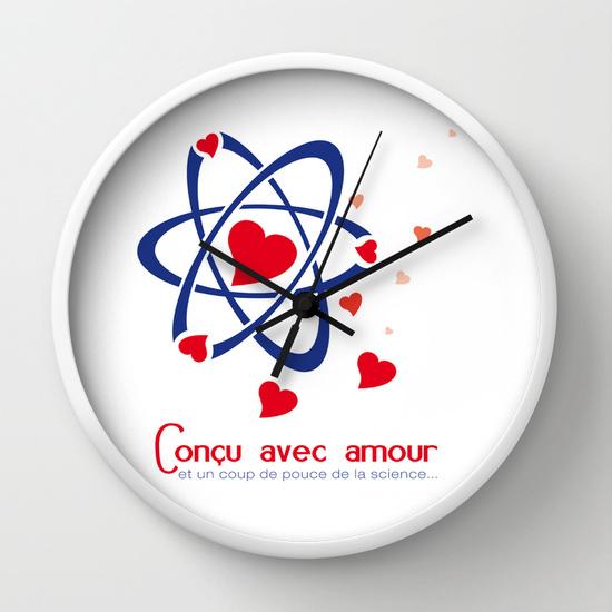 Reloj de pared átomos de amor