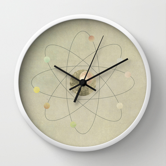 Reloj de pared átomo sencillo