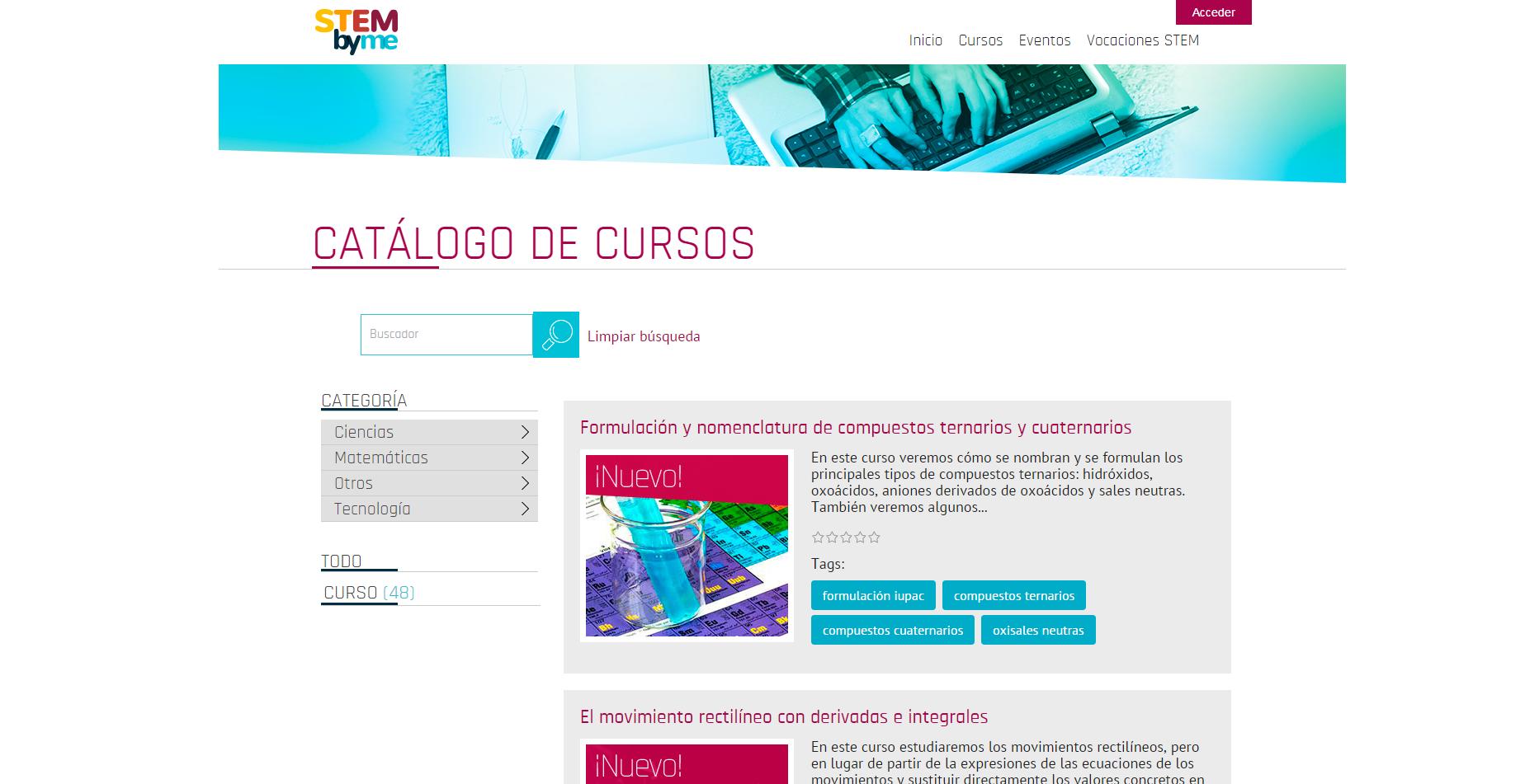 Catálogo de cursos de la plataforma Steymbyme
