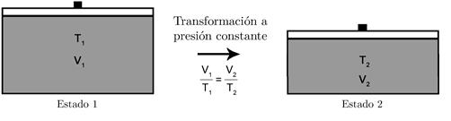 Figura de representación de la ley de Charles